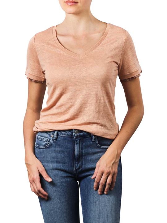Yaya V-Neck Woven Cuffs T-Shirt