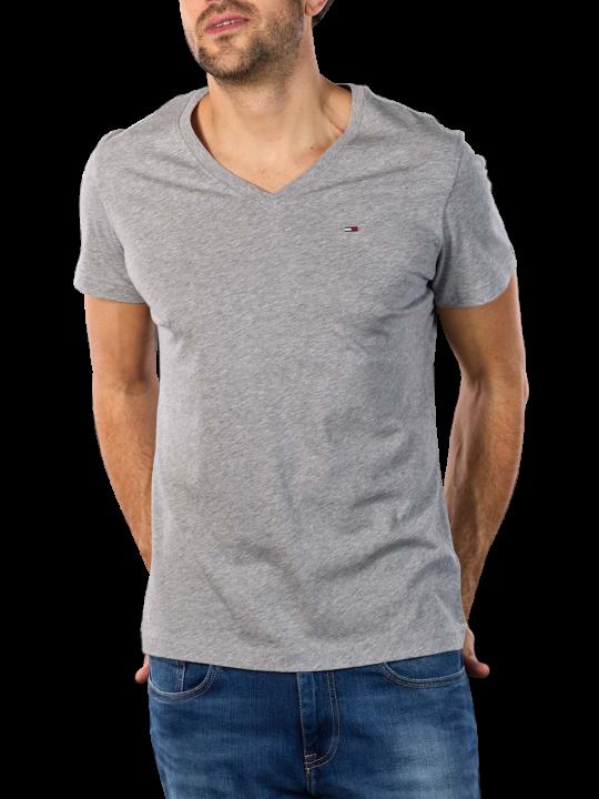Tommy Jeans Original Jersey V T-Shirt light grey heather  Herren T-Shirt